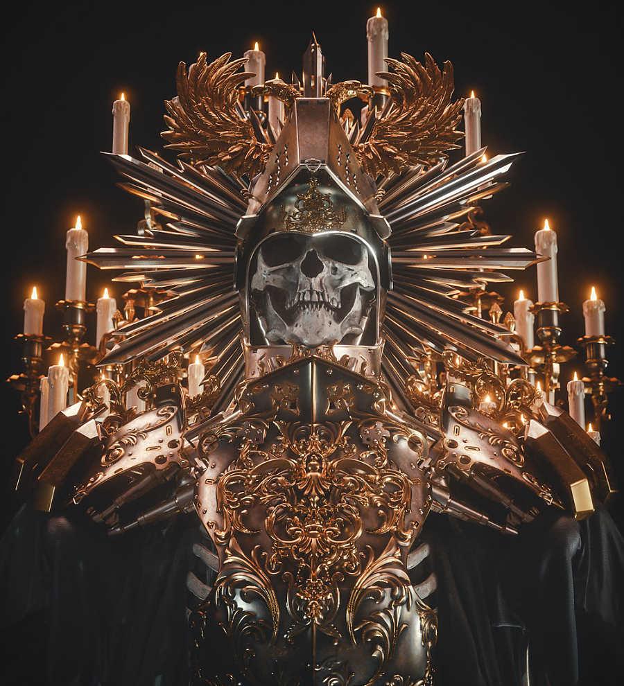 Billelis digital art robot knight candles skull