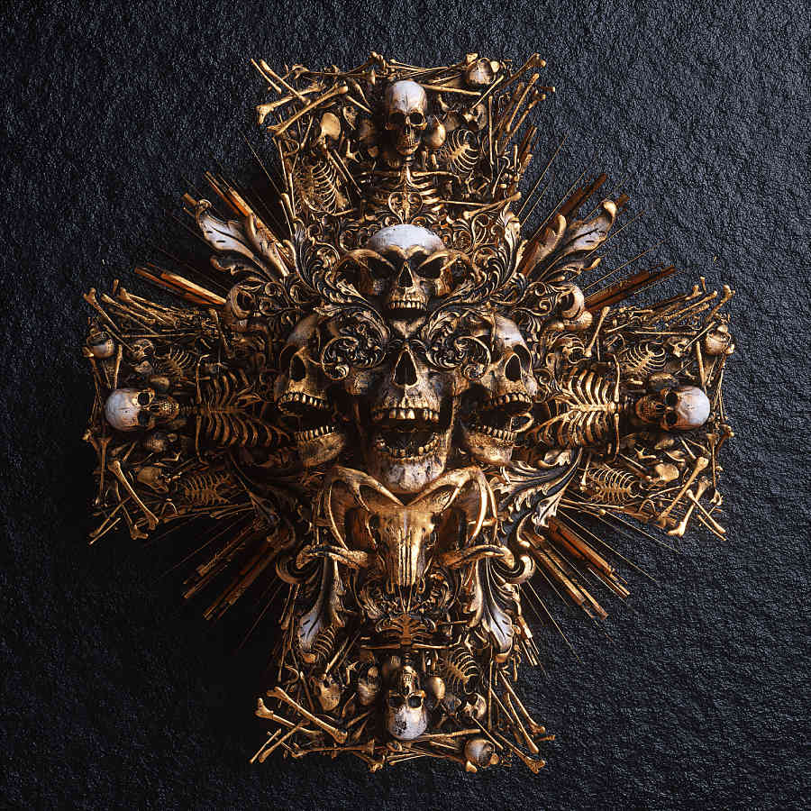 Billelis digital art skull cross medal macabre