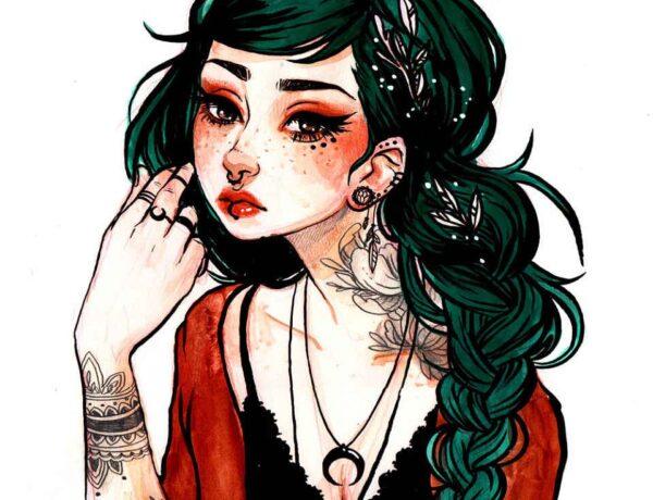 Jacquelin-de-Leon-illustration - tattooed woman