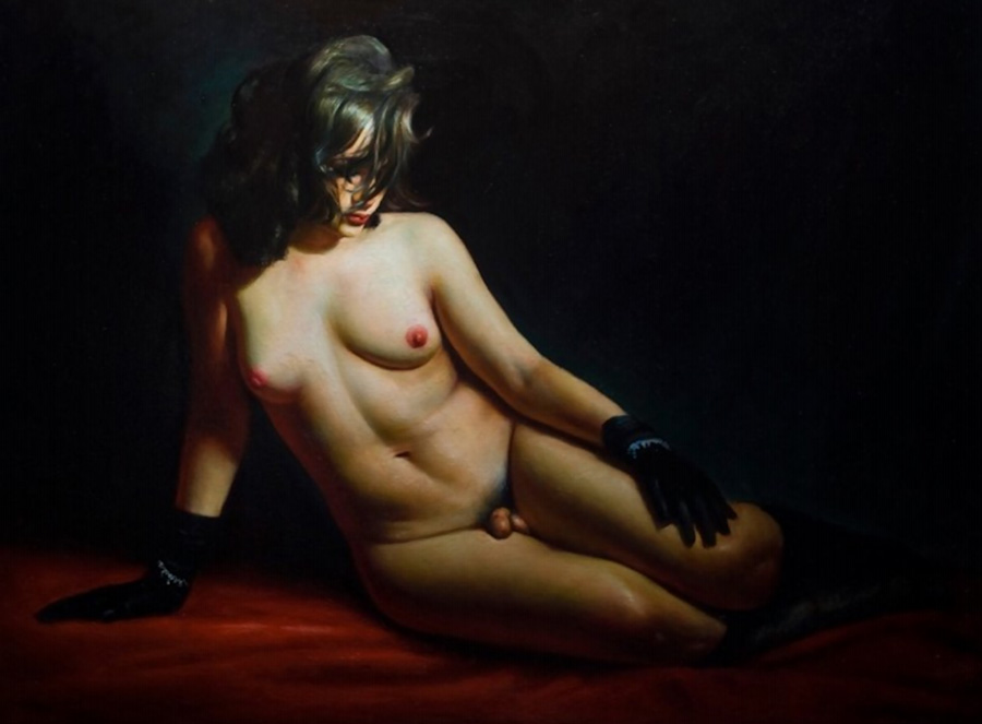 """Rose Freymuth-Frazier - """"Reclining Hermaphrodite"""" figurative nude painting"""
