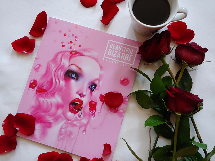 cover of issue 26 of Beautiful Bizarre Magazine featuring Troy Brooks' drawing