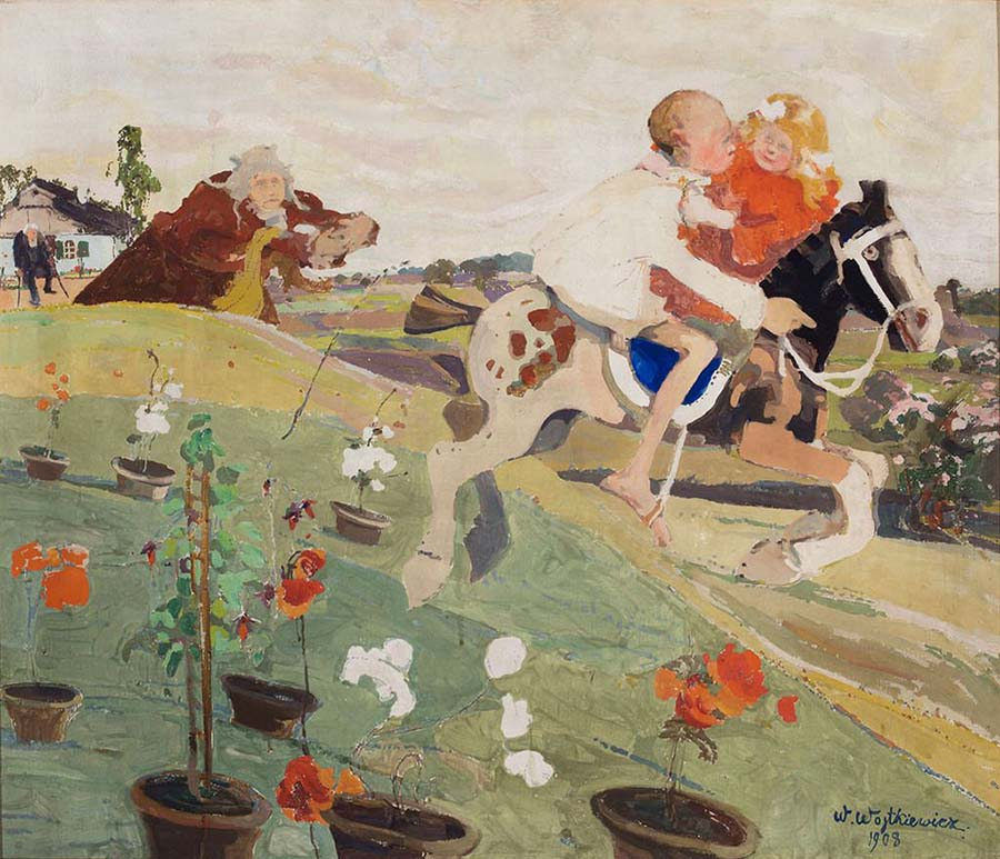 Witold Wojtkiewic-children on horse