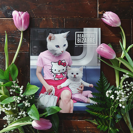 beautiful bizarre magazine - issue 28 - cover - matthew grabelsky hello kitten painting