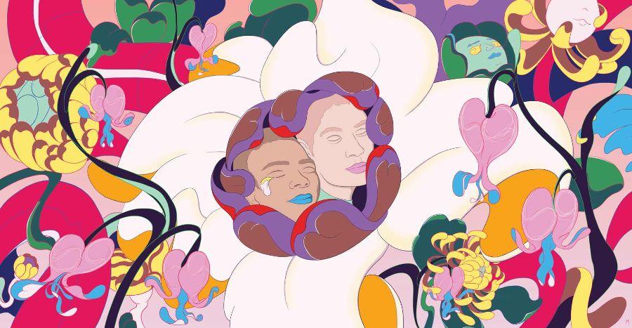 MURUGIAH Digital Illustration Colorful Botanical Backdrop Two Faces Nuzzling