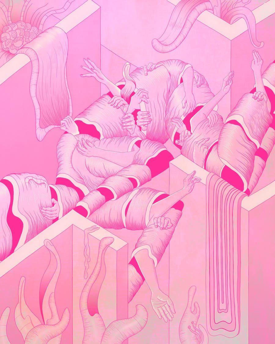 MURUGIAH Digital Illustration Labyrinth Arms Pink
