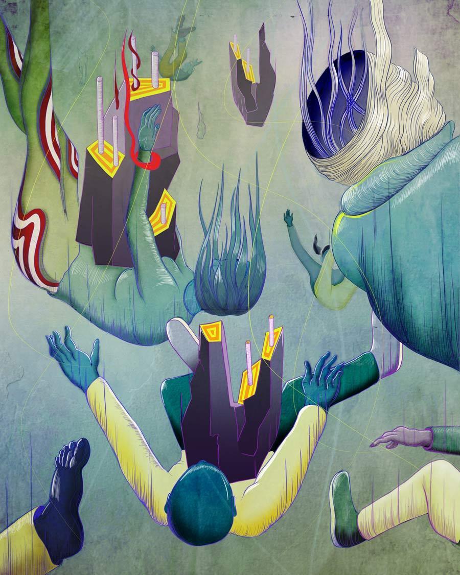 MURUGIAH Digital Illustration Human Figures Falling Into Void