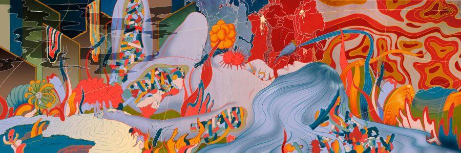 MURUGIAH Digital Illustration Female Figure Ensconced In Landscape