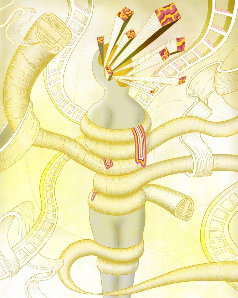 MURUGIAH Digital Illustration Yellow Wrapped Figure