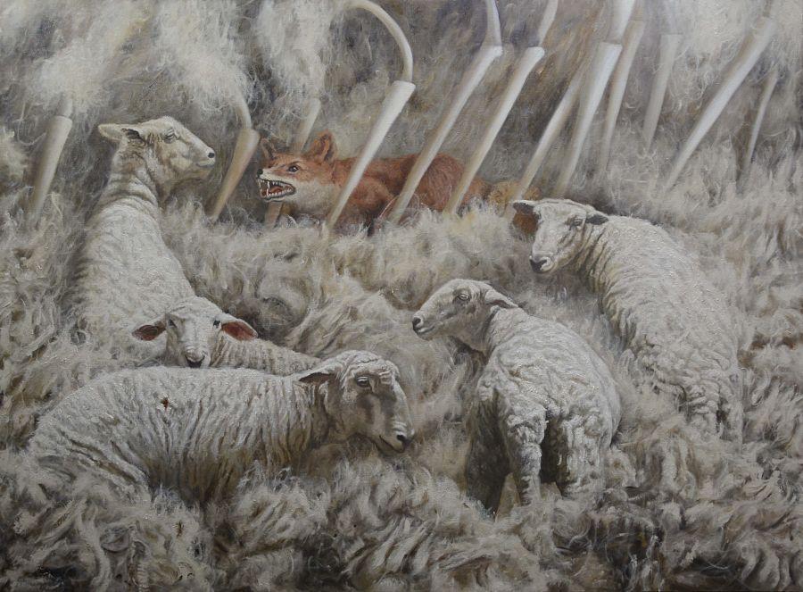 Miguel Escobar sheep and fox painting