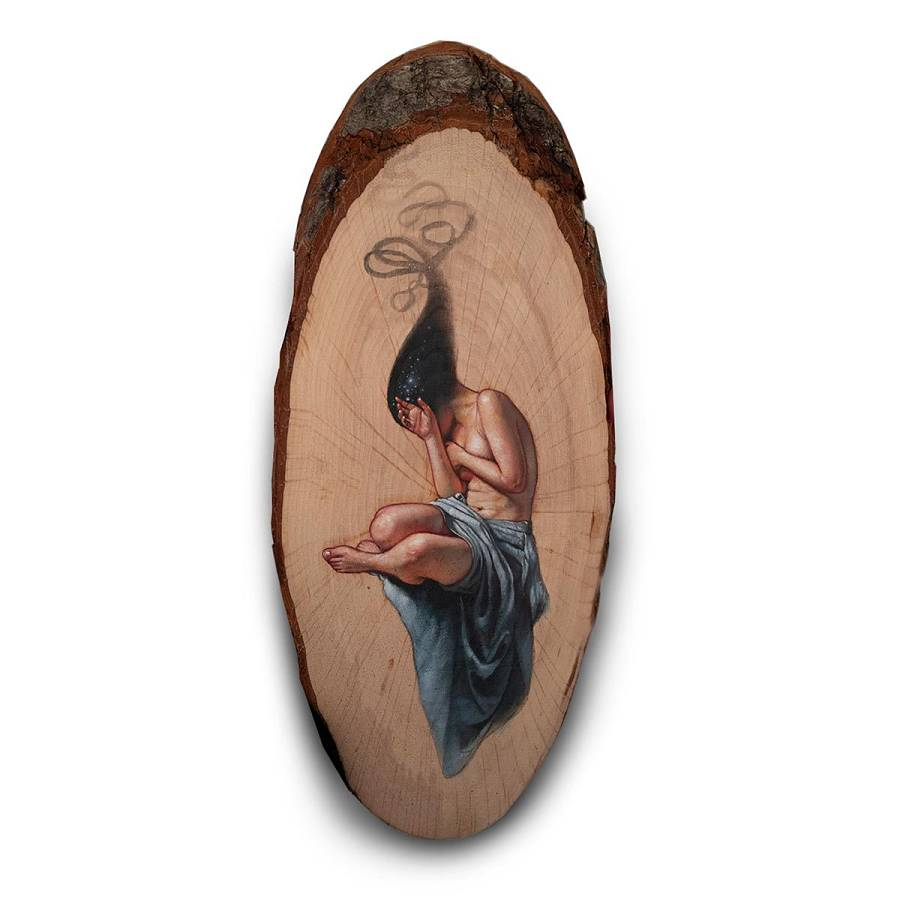 Ania Tomicka surreal nude painting on wood Modern Eden Gallery