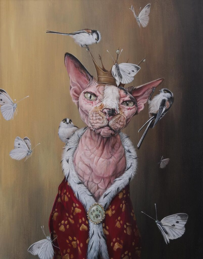 dewi plass-cat with crown-moths