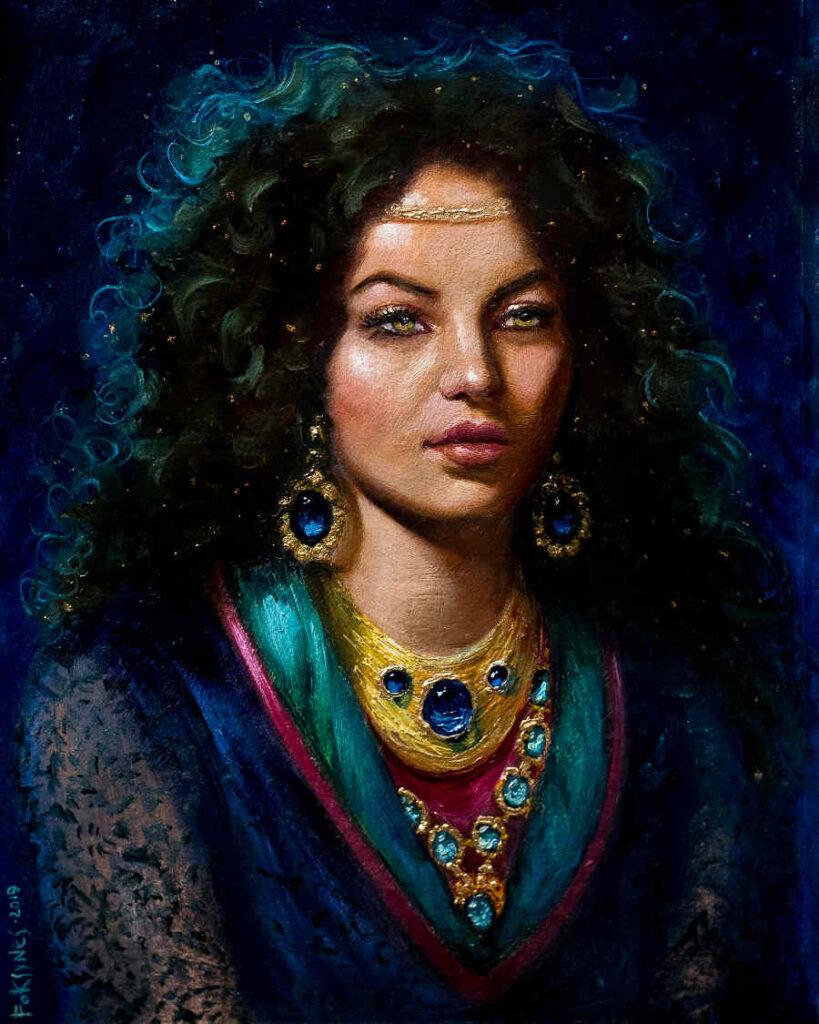 Foksynes Nuit goddess portrait painting