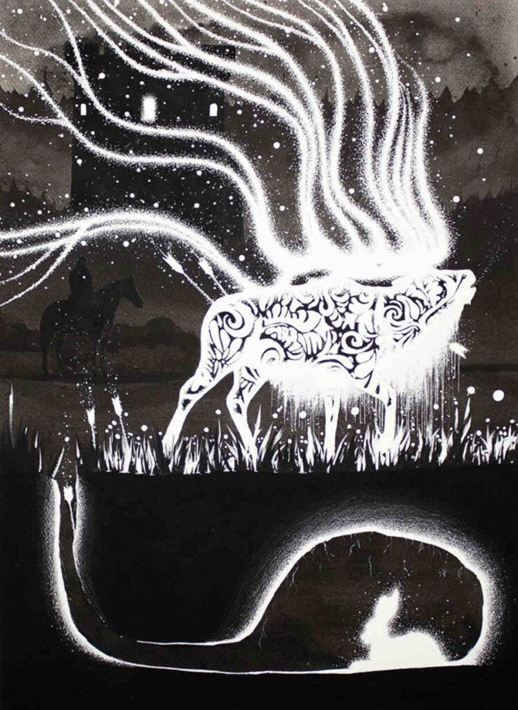 McMonster reindeer ink painting Copro Gallery