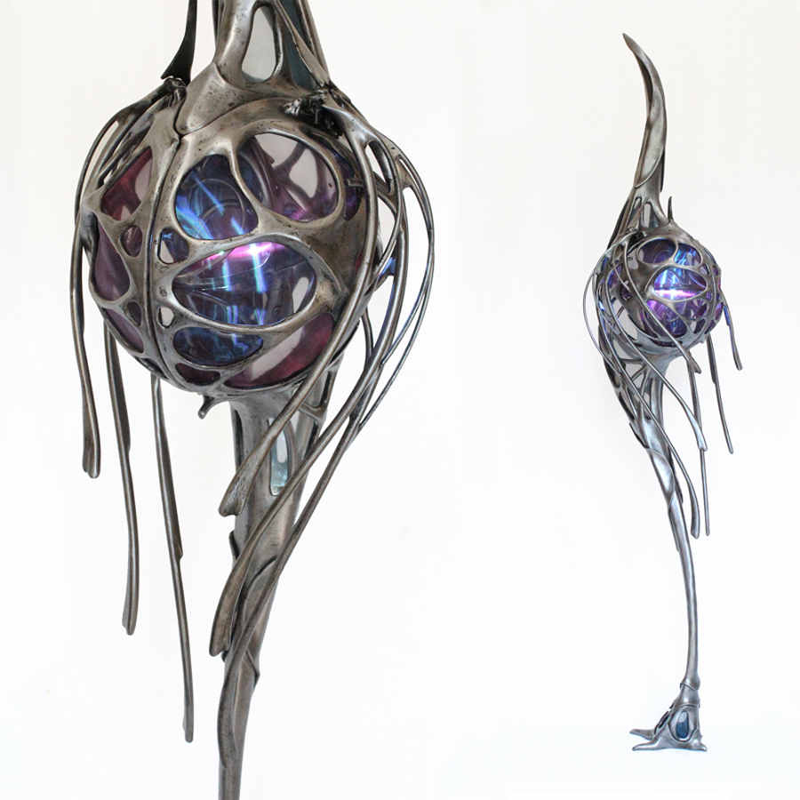 PAtrice Hubert light up metal sculpture