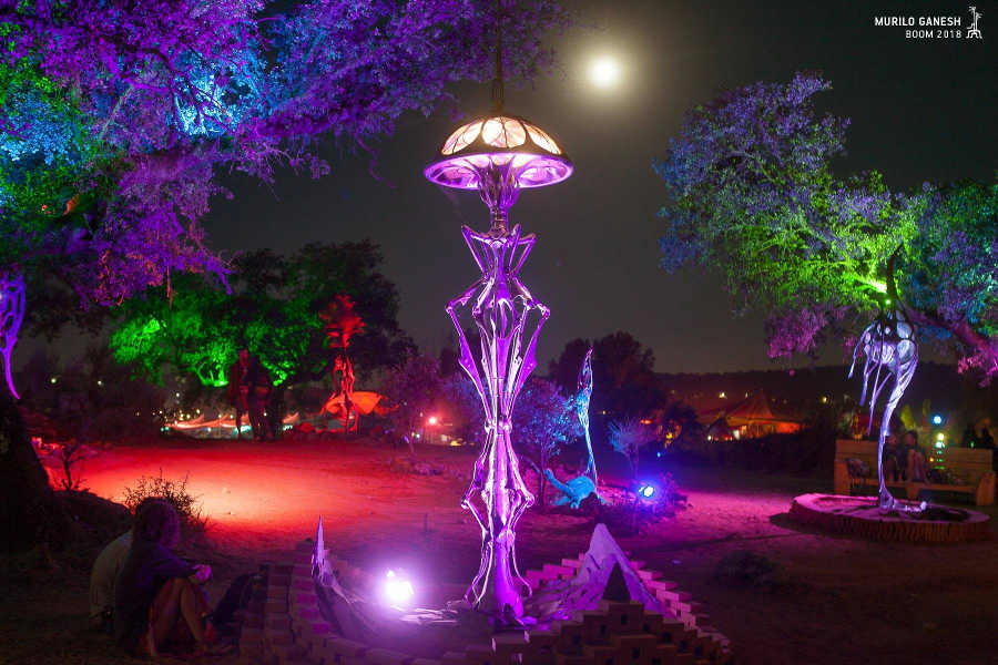 Patrice Hubert visionary art sculpture at Boom Festival