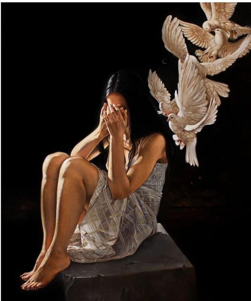 Ania Tomicka crying woman painting