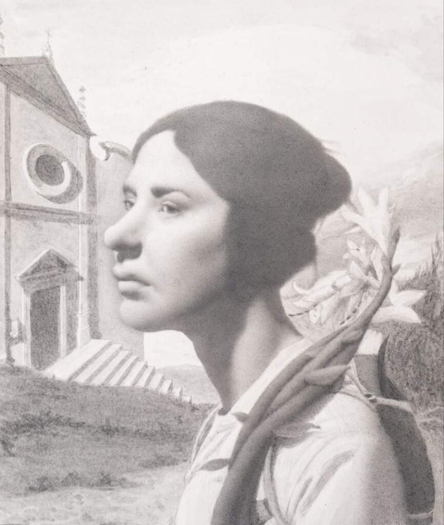 Arthur Haywood pencil portrait woman