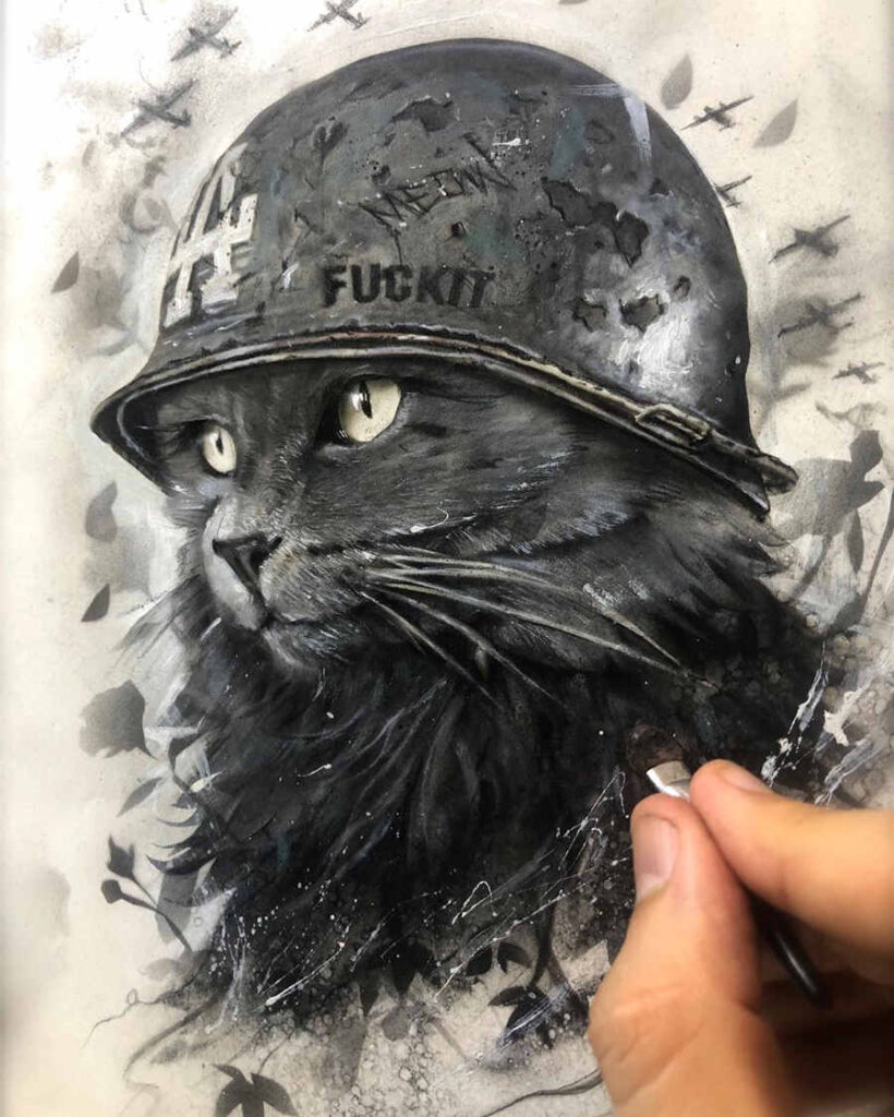 Brian Viveros cat painting Luxe Paws
