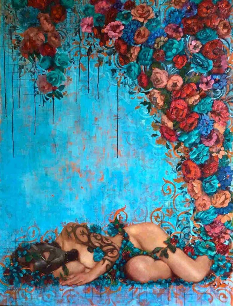 Rosso Emerald Crimson flowers painting