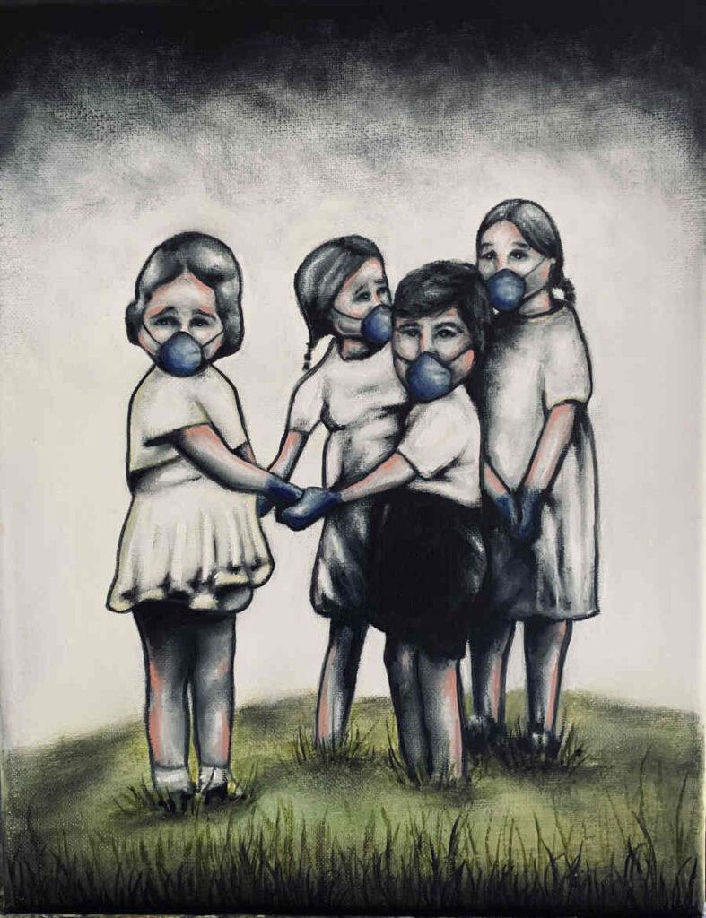 Adam-Crutchfield children playing with masks