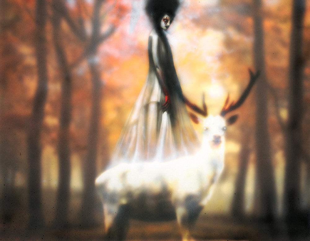 Menton3 woman and deer painting