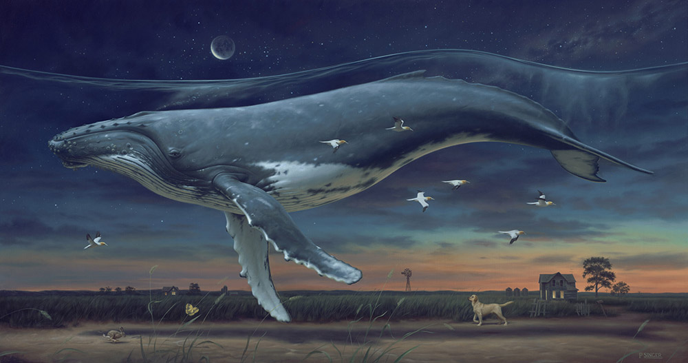 Phillip A Singer-whale-painting-field-flying Beautiful Bizarre Art Prize