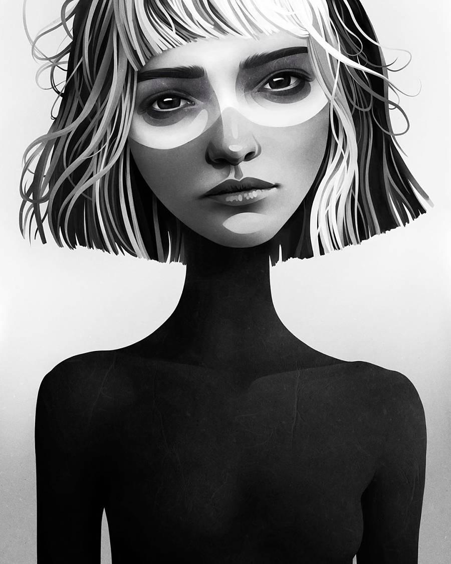 Ruben Ireland black & white digital painting
