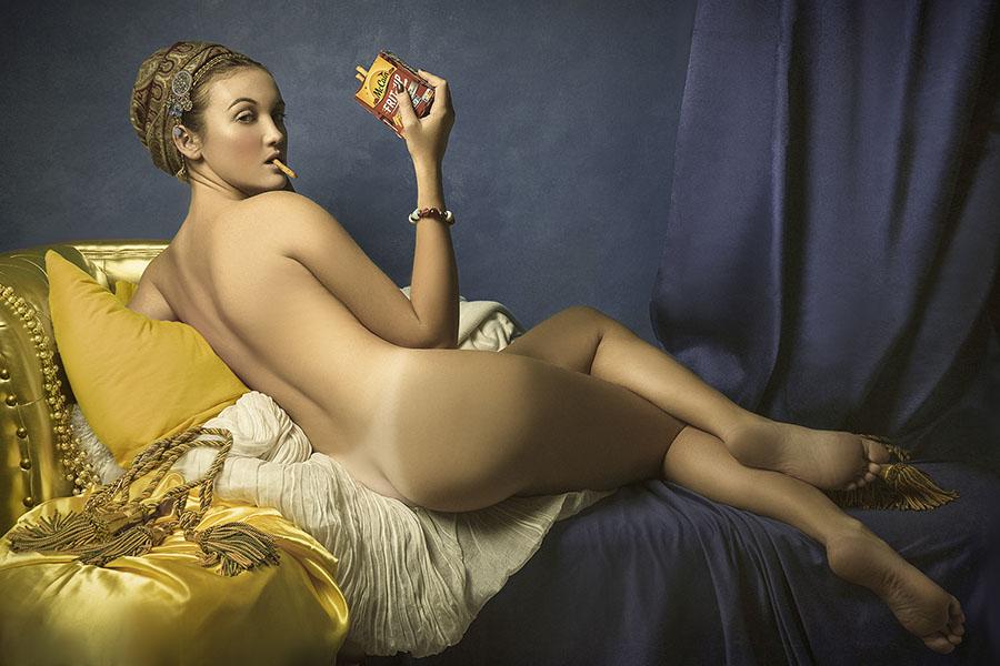 Mathilde Oscar nude female smoking