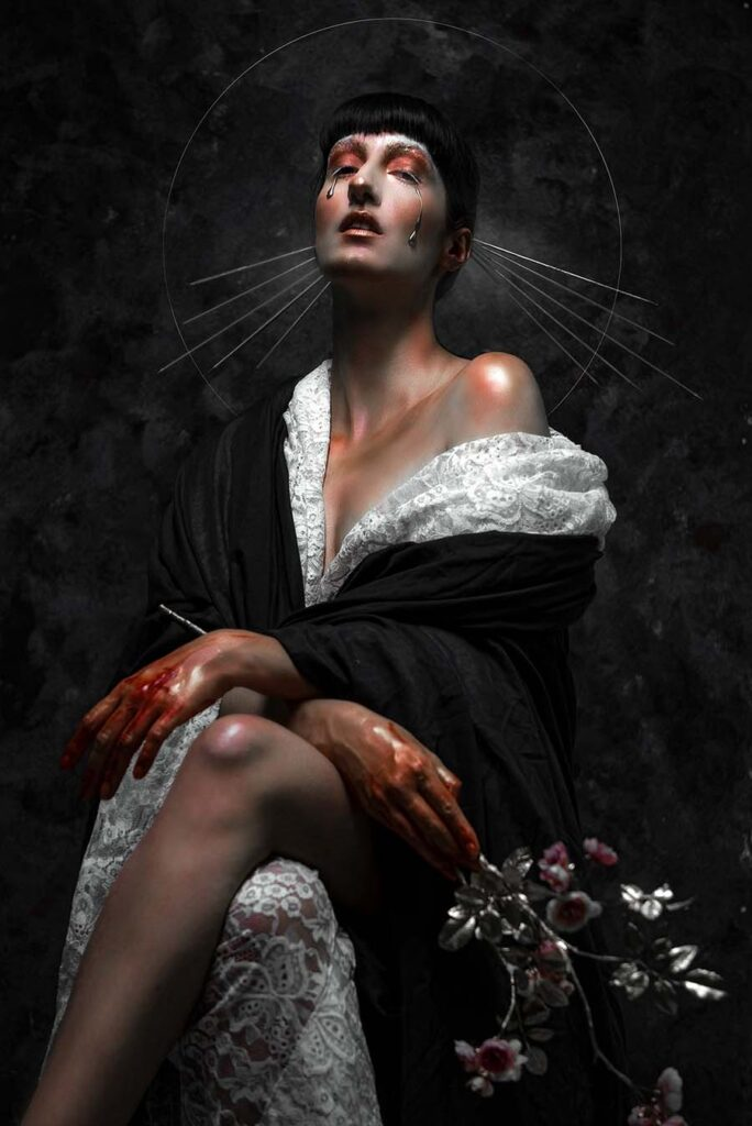 Andrea Wullimann woman with bloody hands
