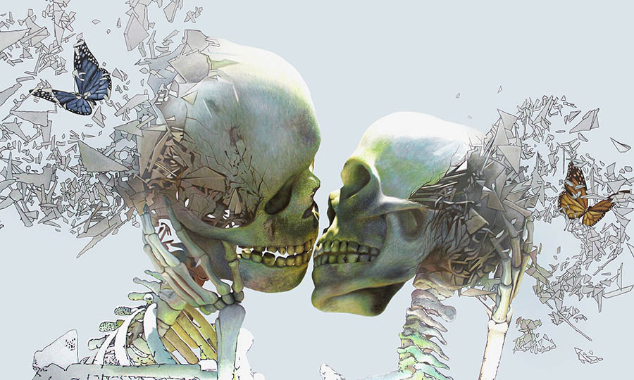 Ross Jaylo skeletons kissing