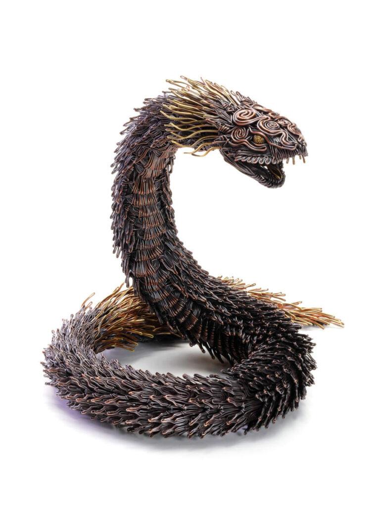 Daiki Tsutamoto metal snake sculpture