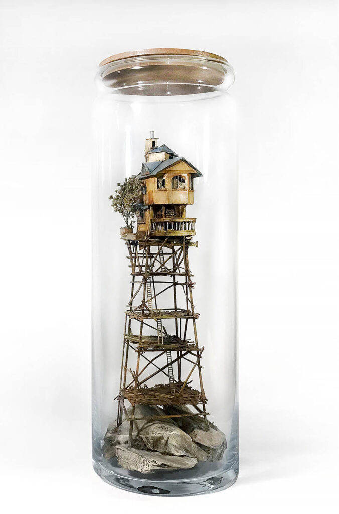 Basia Wesolowska tree house sculpture in bottle