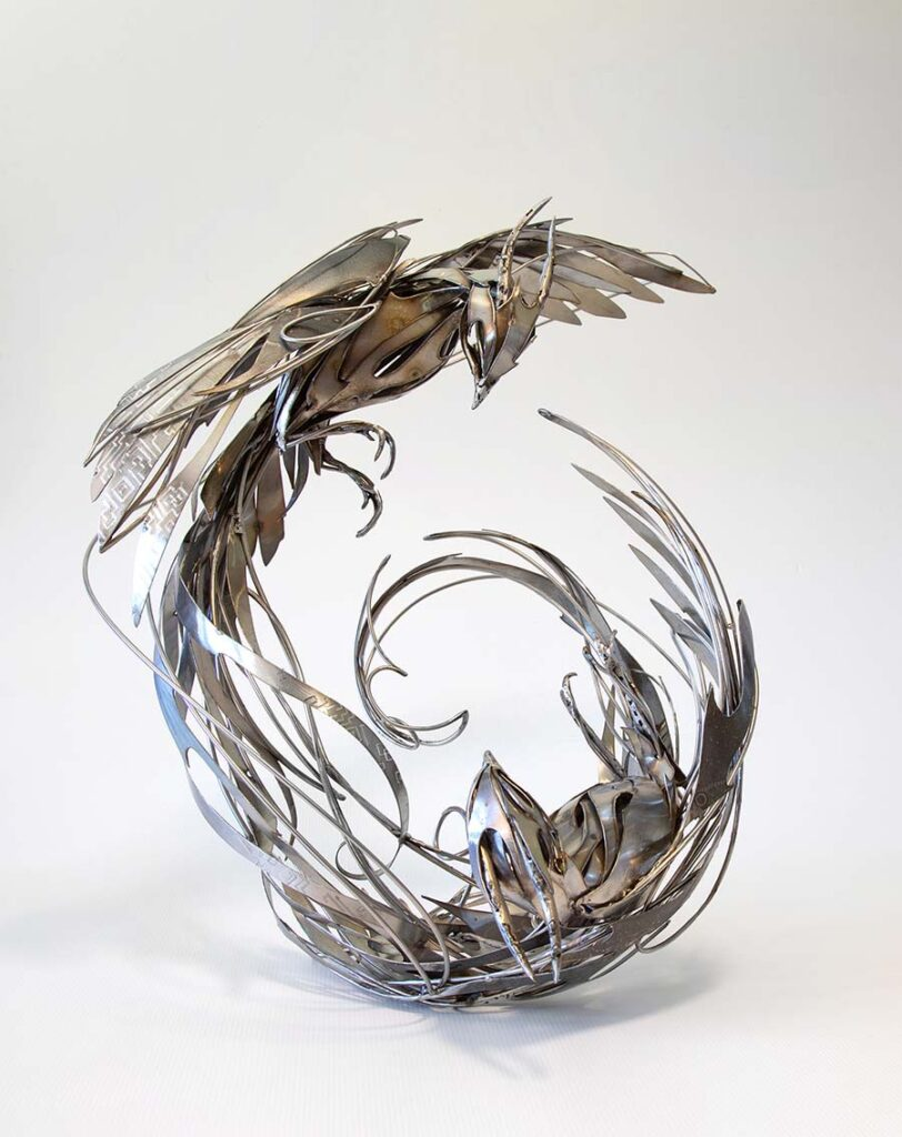 Georgie Seccull steel phoenix sculpture Yasha Young