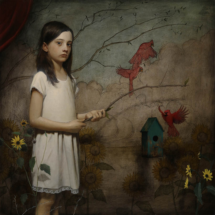 Mark R. Pugh girl and red cardinal birds