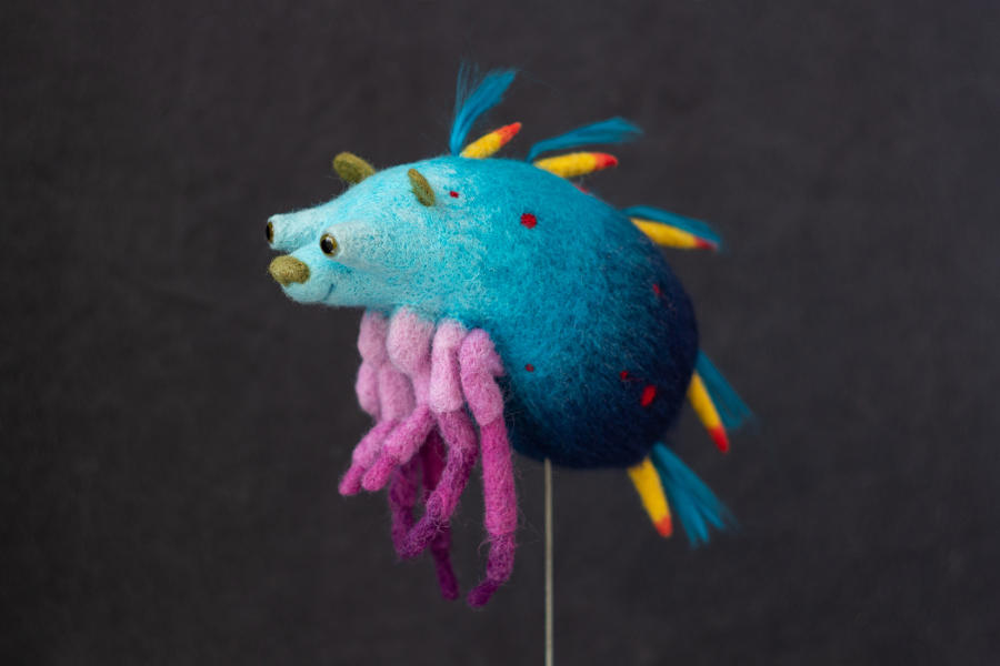 Screamroad felted blue creature Beautiful Bizarre