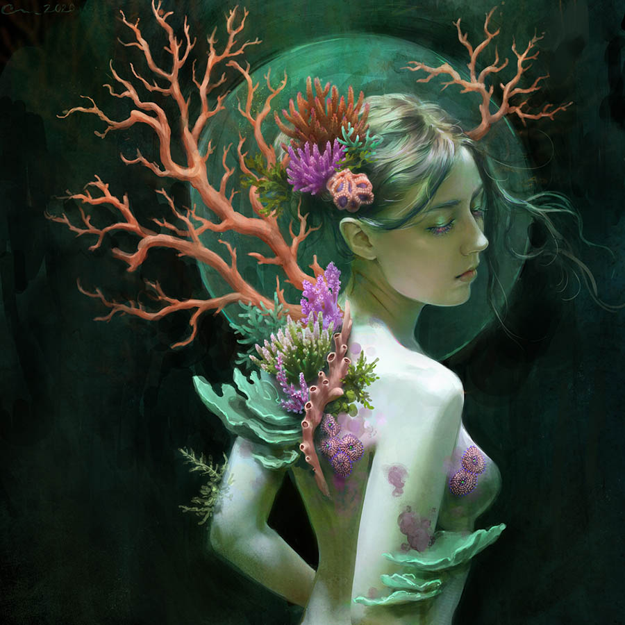 Camille Marie coral woman beautiful bizarre