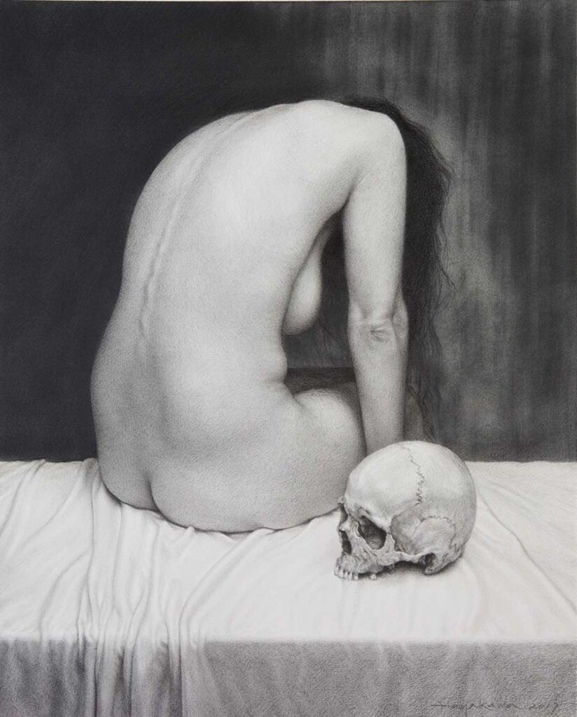 Hiroshi Hayakawa nude woman and skull
