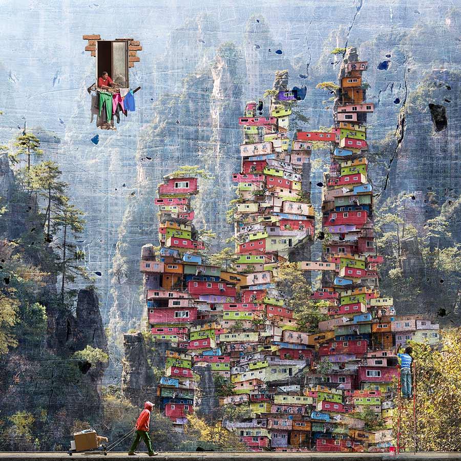 Maïlo landscape digital collage beautiful bizarre