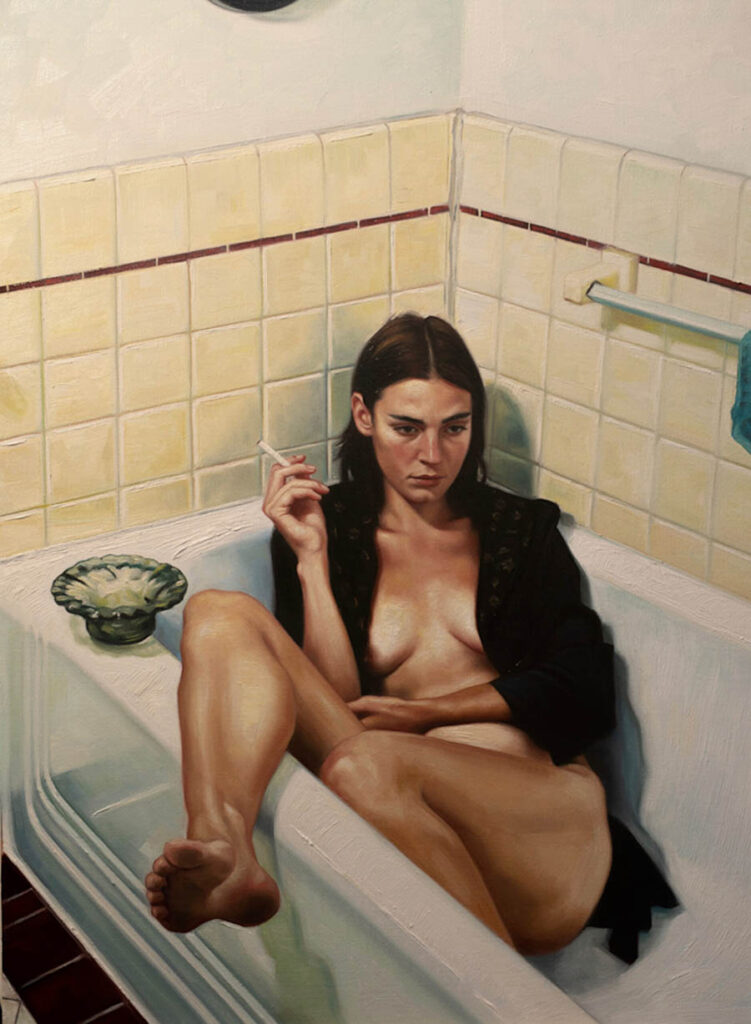 David Alvarado woman in bath smoking