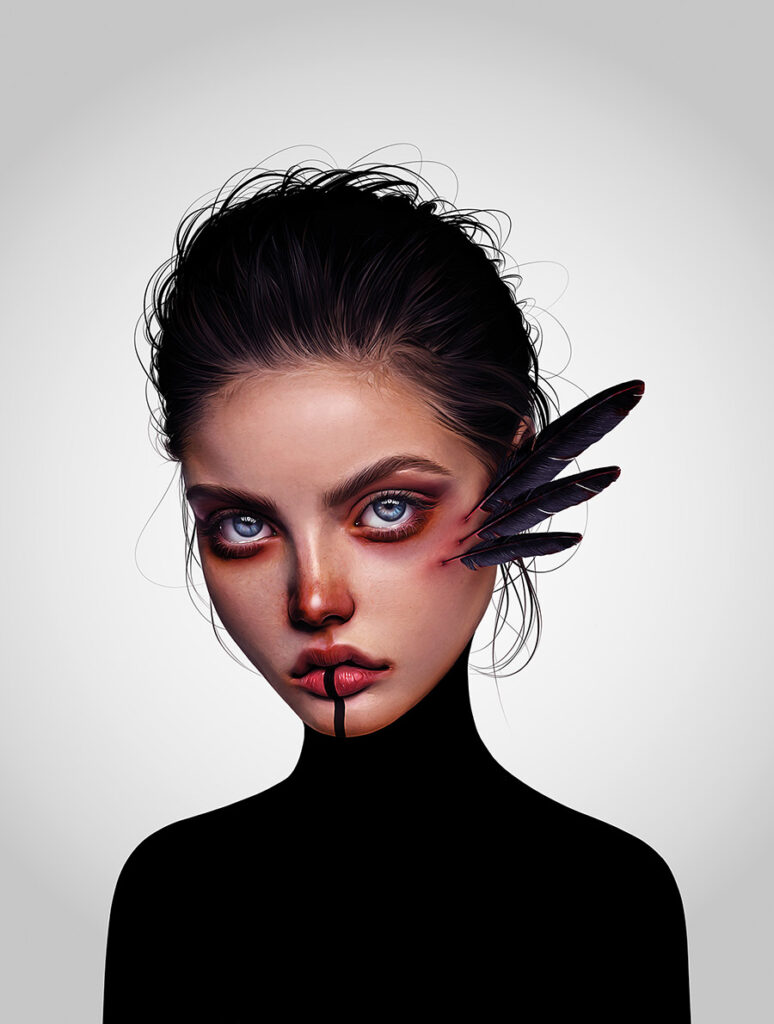 Laura H. Rubin woman with feathers beautiful bizarre