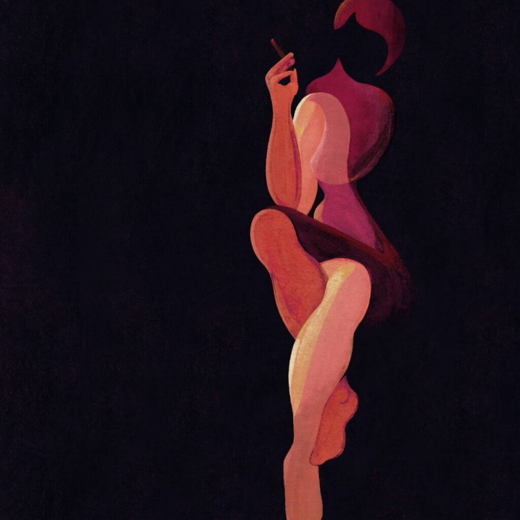 Laura Peretti smoking painting