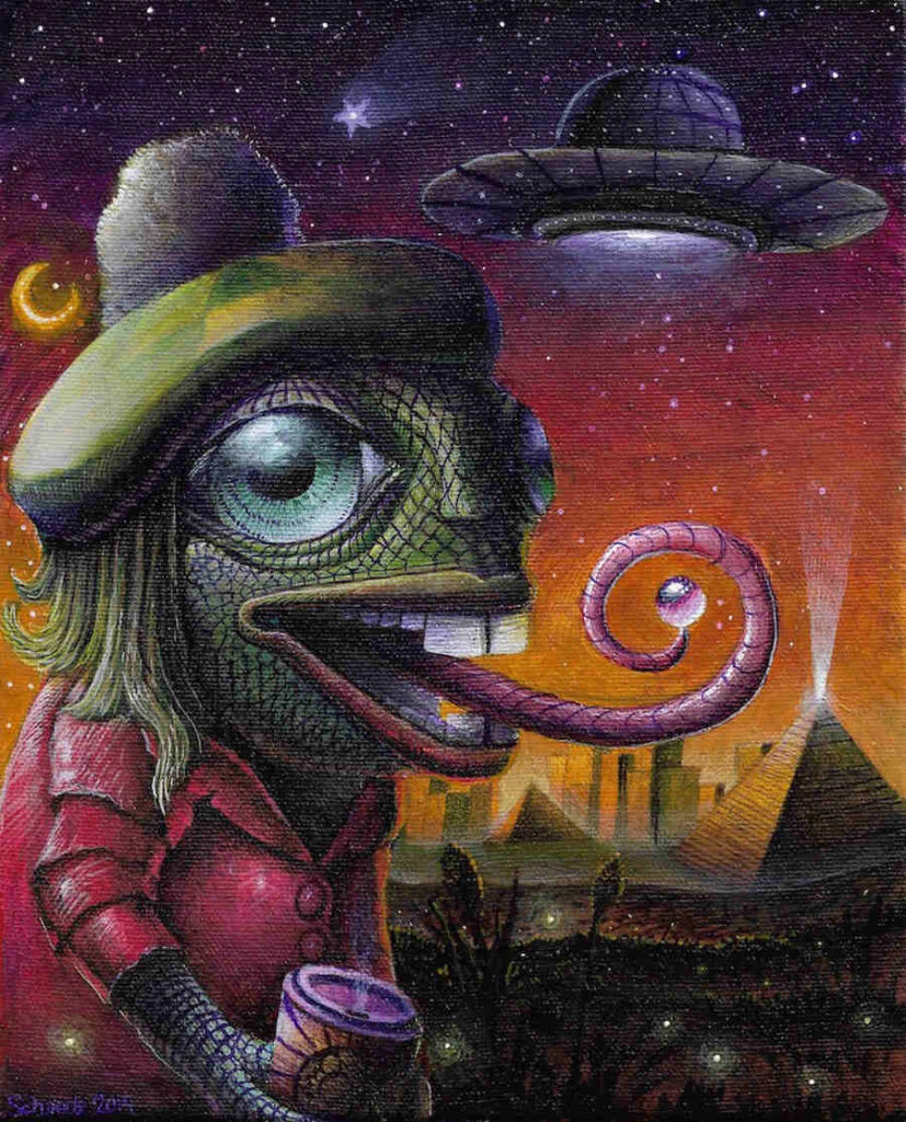 Ricky Schaede psychedelic lizard UFO