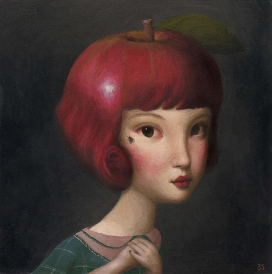Aniela Sobieski apple head portrait