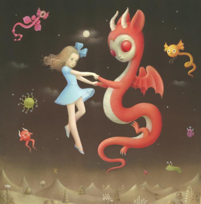 Nicoletta Ceccoli girl floating with dragon