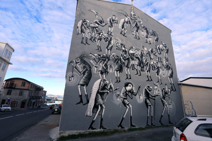 PHLEGM surreal grey mural Yasha Young Projects
