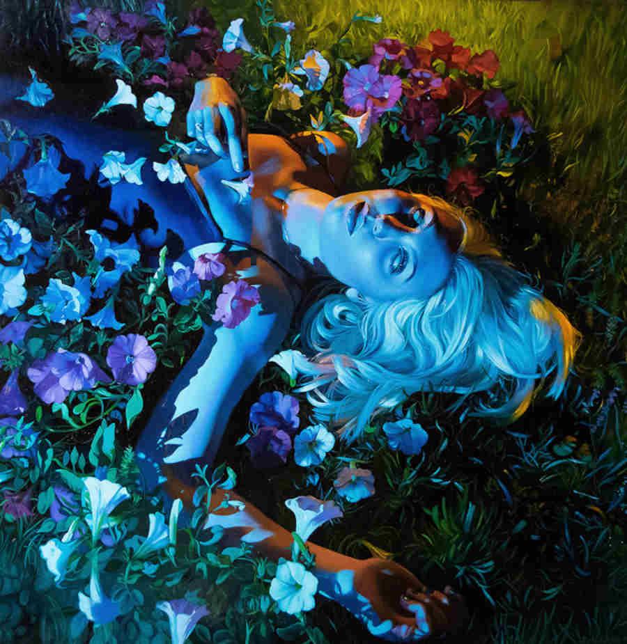 Rachael Bridge blue female with flowers