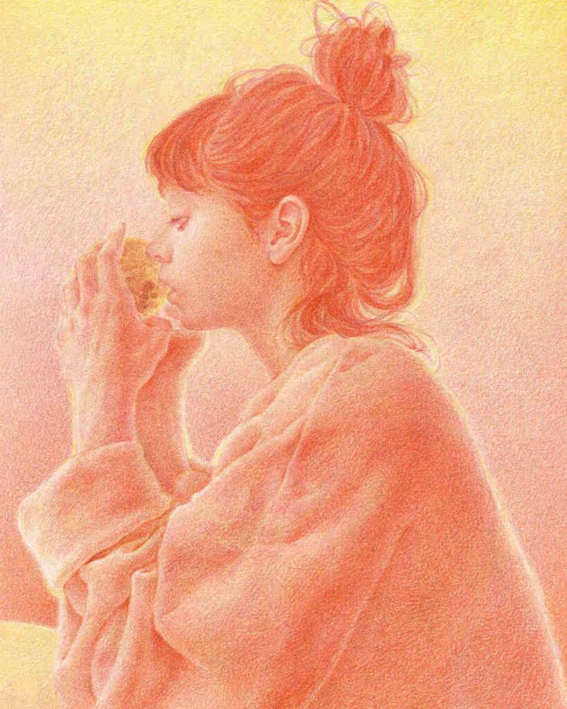 Uniquelab orange portrait sipping