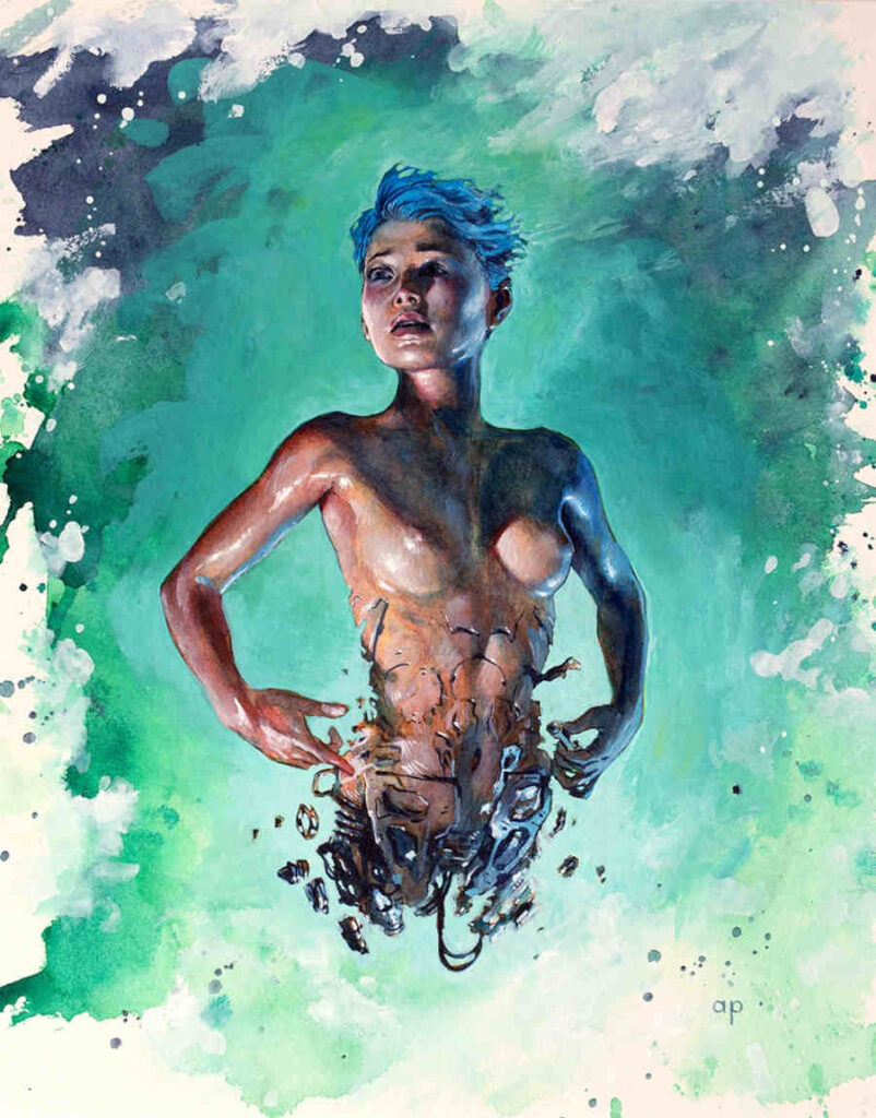 Anthony Palumbo topless blue woman