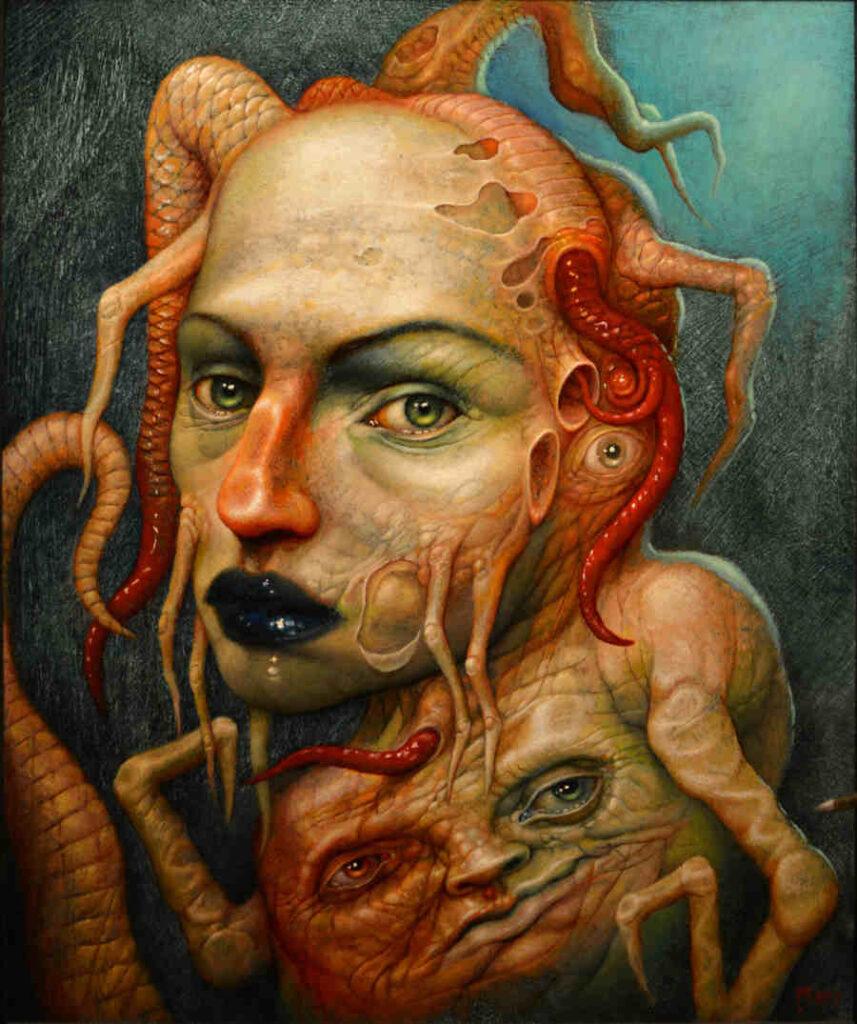 Chris Mars orange surreal heads