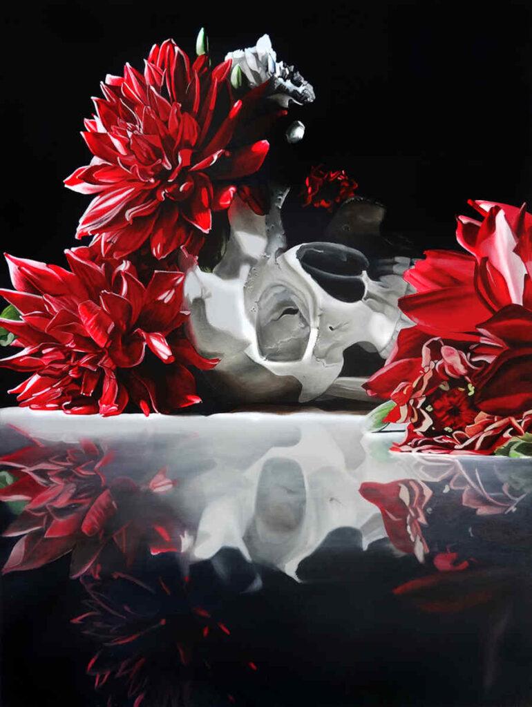Clare Toms skull reflection fine art